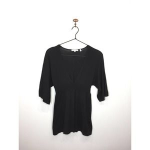 Vince Brown Cotton Cashmere V-Neck Tunic Sweater S